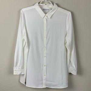 Susan Graver Ivory Button Down Longe Sleeve Shirt